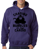 "Chasing bubbles is my cardio chimpanzee Mens Hoodies Black-Hoodies-Gildan-Purple-S To Fit Chest 36-38"" (91-96cm)-Daataadirect"