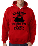 "Chasing bubbles is my cardio chimpanzee Mens Hoodies Black-Hoodies-Gildan-Red-S To Fit Chest 36-38"" (91-96cm)-Daataadirect"