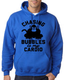 "Chasing bubbles is my cardio chimpanzee Mens Hoodies Black-Hoodies-Gildan-Royal Blue-S To Fit Chest 36-38"" (91-96cm)-Daataadirect"