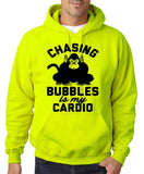 "Chasing bubbles is my cardio chimpanzee Mens Hoodies Black-Hoodies-Gildan-Safety Green-S To Fit Chest 36-38"" (91-96cm)-Daataadirect"