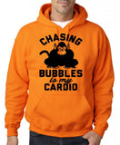 "Chasing bubbles is my cardio chimpanzee Mens Hoodies Black-Hoodies-Gildan-Safety Orange-S To Fit Chest 36-38"" (91-96cm)-Daataadirect"