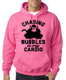 "Chasing bubbles is my cardio chimpanzee Mens Hoodies Black-Hoodies-Gildan-Safety Pink-S To Fit Chest 36-38"" (91-96cm)-Daataadirect"