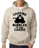 "Chasing bubbles is my cardio chimpanzee Mens Hoodies Black-Hoodies-Gildan-Sand-S To Fit Chest 36-38"" (91-96cm)-Daataadirect"