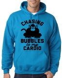 "Chasing bubbles is my cardio chimpanzee Mens Hoodies Black-Hoodies-Gildan-Sapphire-S To Fit Chest 36-38"" (91-96cm)-Daataadirect"