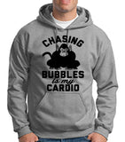 "Chasing bubbles is my cardio chimpanzee Mens Hoodies Black-Hoodies-Gildan-Sport Grey-S To Fit Chest 36-38"" (91-96cm)-Daataadirect"