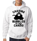 "Chasing bubbles is my cardio chimpanzee Mens Hoodies Black-Hoodies-Gildan-White-S To Fit Chest 36-38"" (91-96cm)-Daataadirect"