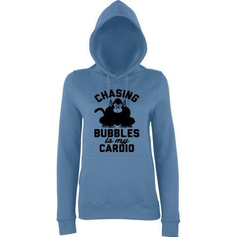 "Chasing bubbles is my cardio chimpanzee Women Hoodies Black-Hoodies-AWD-Airforce Blue-XS UK 8 Euro 32 Bust 30""-Daataadirect"