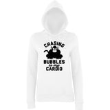 "Chasing bubbles is my cardio chimpanzee Women Hoodies Black-Hoodies-AWD-Arctic white-XS UK 8 Euro 32 Bust 30""-Daataadirect"