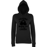 "Chasing bubbles is my cardio chimpanzee Women Hoodies Black-Hoodies-AWD-Black-XS UK 8 Euro 32 Bust 30""-Daataadirect"