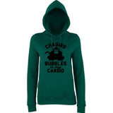 "Chasing bubbles is my cardio chimpanzee Women Hoodies Black-Hoodies-AWD-Bottle Green-XS UK 8 Euro 32 Bust 30""-Daataadirect"