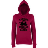 "Chasing bubbles is my cardio chimpanzee Women Hoodies Black-Hoodies-AWD-Burgundy-XS UK 8 Euro 32 Bust 30""-Daataadirect"