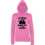 "Chasing bubbles is my cardio chimpanzee Women Hoodies Black-Hoodies-AWD-Candyfloss Pink-XS UK 8 Euro 32 Bust 30""-Daataadirect"