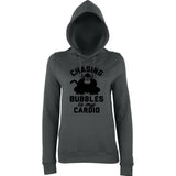 "Chasing bubbles is my cardio chimpanzee Women Hoodies Black-Hoodies-AWD-Charcoal-XS UK 8 Euro 32 Bust 30""-Daataadirect"