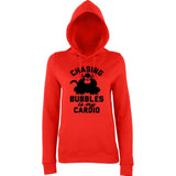 "Chasing bubbles is my cardio chimpanzee Women Hoodies Black-Hoodies-AWD-Fire Red-XS UK 8 Euro 32 Bust 30""-Daataadirect"