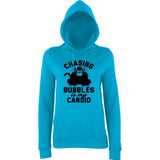 "Chasing bubbles is my cardio chimpanzee Women Hoodies Black-Hoodies-AWD-Hawaiian Blue-XS UK 8 Euro 32 Bust 30""-Daataadirect"