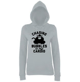 "Chasing bubbles is my cardio chimpanzee Women Hoodies Black-Hoodies-AWD-Heather Grey-XS UK 8 Euro 32 Bust 30""-Daataadirect"