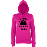 "Chasing bubbles is my cardio chimpanzee Women Hoodies Black-Hoodies-AWD-Hot Pink-XS UK 8 Euro 32 Bust 30""-Daataadirect"