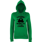 "Chasing bubbles is my cardio chimpanzee Women Hoodies Black-Hoodies-AWD-Kelly Green-XS UK 8 Euro 32 Bust 30""-Daataadirect"