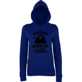 "Chasing bubbles is my cardio chimpanzee Women Hoodies Black-Hoodies-AWD-New French Navy-XS UK 8 Euro 32 Bust 30""-Daataadirect"