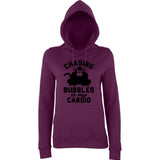 "Chasing bubbles is my cardio chimpanzee Women Hoodies Black-Hoodies-AWD-Plum-XS UK 8 Euro 32 Bust 30""-Daataadirect"