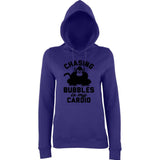 "Chasing bubbles is my cardio chimpanzee Women Hoodies Black-Hoodies-AWD-Purple-XS UK 8 Euro 32 Bust 30""-Daataadirect"