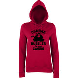 "Chasing bubbles is my cardio chimpanzee Women Hoodies Black-Hoodies-AWD-Red Hot Chilli-XS UK 8 Euro 32 Bust 30""-Daataadirect"