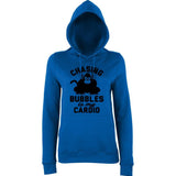 "Chasing bubbles is my cardio chimpanzee Women Hoodies Black-Hoodies-AWD-Royal Blue-XS UK 8 Euro 32 Bust 30""-Daataadirect"