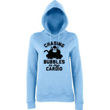 "Chasing bubbles is my cardio chimpanzee Women Hoodies Black-Hoodies-AWD-Sky Blue-XS UK 8 Euro 32 Bust 30""-Daataadirect"