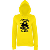 "Chasing bubbles is my cardio chimpanzee Women Hoodies Black-Hoodies-AWD-Sun Yellow-XS UK 8 Euro 32 Bust 30""-Daataadirect"