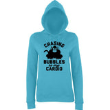 "Chasing bubbles is my cardio chimpanzee Women Hoodies Black-Hoodies-AWD-Turquoise Surf-XS UK 8 Euro 32 Bust 30""-Daataadirect"