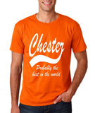 "CHESTER Best City Mens T Shirts White-T Shirts-Gildan-Orange-S To Fit Chest 36-38"" (91-96cm)-Daataadirect"