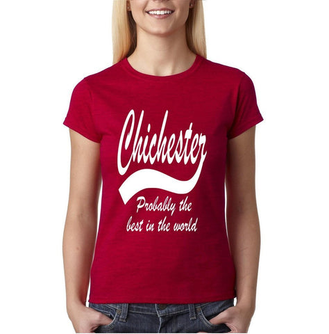 "CHICHESTER Best City Womens T Shirts White-T Shirts-Gildan-Antique Cherry-S UK 10 Euro 34 Bust 32""-Daataadirect"