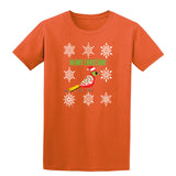Red Bird In Snow Holding Holy Berries Christmas T-Shirt-Gildan-Daataadirect.co.uk