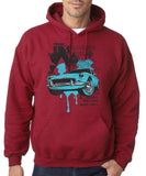 "Classic Car Blue Vintage  Men Hoodies-Hoodies-Gildan-Antique Cherry-S To Fit Chest 36-38"" (91-96cm)-Daataadirect"