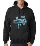 "Classic Car Blue Vintage  Men Hoodies-Hoodies-Gildan-Black-S To Fit Chest 36-38"" (91-96cm)-Daataadirect"
