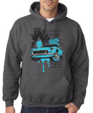 "Classic Car Blue Vintage  Men Hoodies-Hoodies-Gildan-Charcoal-S To Fit Chest 36-38"" (91-96cm)-Daataadirect"