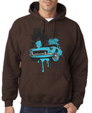 "Classic Car Blue Vintage  Men Hoodies-Hoodies-Gildan-Dk Chocolate-S To Fit Chest 36-38"" (91-96cm)-Daataadirect"