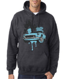 "Classic Car Blue Vintage  Men Hoodies-Hoodies-Gildan-Dk Heather-S To Fit Chest 36-38"" (91-96cm)-Daataadirect"