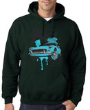 "Classic Car Blue Vintage  Men Hoodies-Hoodies-Gildan-Forest Green-S To Fit Chest 36-38"" (91-96cm)-Daataadirect"