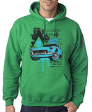"Classic Car Blue Vintage  Men Hoodies-Hoodies-Gildan-Irish Green-S To Fit Chest 36-38"" (91-96cm)-Daataadirect"