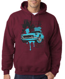 "Classic Car Blue Vintage  Men Hoodies-Hoodies-Gildan-Maroon-S To Fit Chest 36-38"" (91-96cm)-Daataadirect"