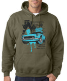 "Classic Car Blue Vintage  Men Hoodies-Hoodies-Gildan-Military Green-S To Fit Chest 36-38"" (91-96cm)-Daataadirect"