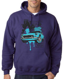 "Classic Car Blue Vintage  Men Hoodies-Hoodies-Gildan-Purple-S To Fit Chest 36-38"" (91-96cm)-Daataadirect"