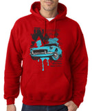 "Classic Car Blue Vintage  Men Hoodies-Hoodies-Gildan-Red-S To Fit Chest 36-38"" (91-96cm)-Daataadirect"