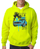 "Classic Car Blue Vintage  Men Hoodies-Hoodies-Gildan-Safety Green-S To Fit Chest 36-38"" (91-96cm)-Daataadirect"