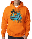 "Classic Car Blue Vintage  Men Hoodies-Hoodies-Gildan-Safety Orange-S To Fit Chest 36-38"" (91-96cm)-Daataadirect"