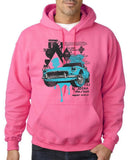 "Classic Car Blue Vintage  Men Hoodies-Hoodies-Gildan-Safety Pink-S To Fit Chest 36-38"" (91-96cm)-Daataadirect"
