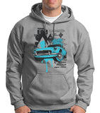 "Classic Car Blue Vintage  Men Hoodies-Hoodies-Gildan-Sport Grey-S To Fit Chest 36-38"" (91-96cm)-Daataadirect"