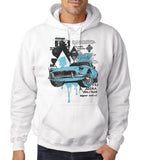 "Classic Car Blue Vintage  Men Hoodies-Hoodies-Gildan-White-S To Fit Chest 36-38"" (91-96cm)-Daataadirect"