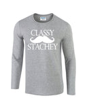Classy Mustache Stachey Mens Long SleeveT Shirt White-Gildan-Daataadirect.co.uk